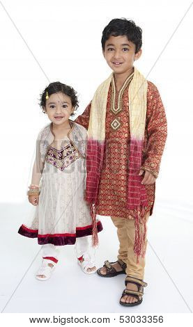 Siblings Display Traditional Indian Costumes