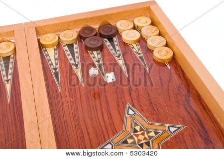 Dices Falling On Wooden Handmade Backgammon Board Isolated On Wh
