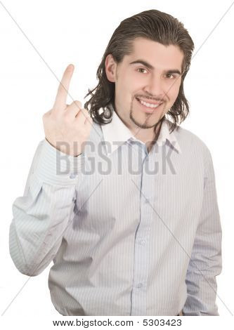 Young Handsome Guy Counts On His Fingers One Isolated White