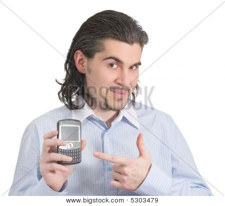 Young Handsome Male Pointing At His Phone Isolated White