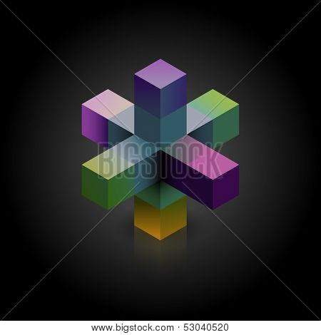 Abstract 3d shape on dark background, eps10 vector