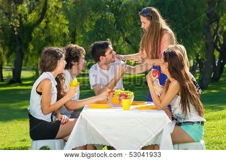 Young Students Having An Outdoor Picnic
