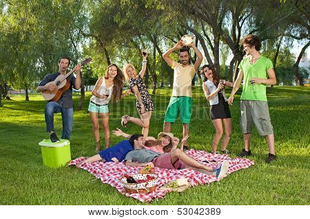 Lively Group Of Friends  In The Park