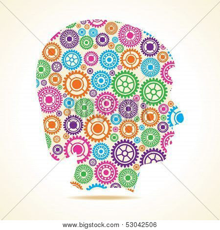 Group of colorful gears make a male face stock vector
