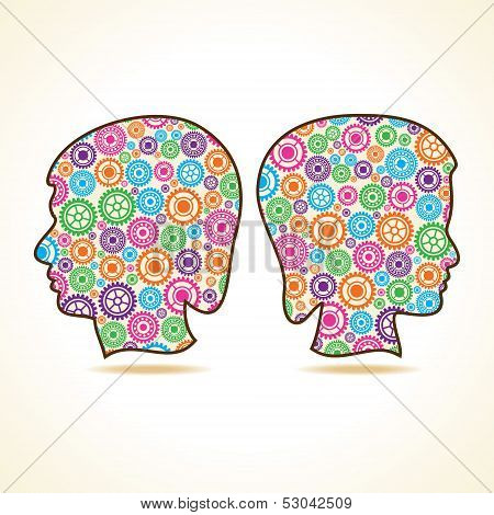 Group of colorful gears make a male and female face stock vector