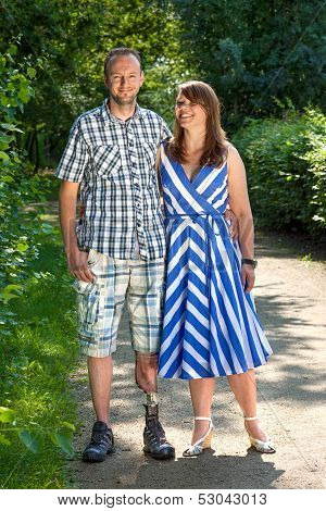 Disabled Man With An Attractive Woman