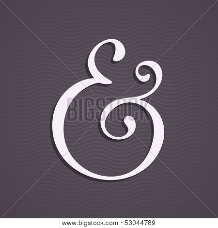 Custom ampersand with shadow for wedding invitation. Vector illustration