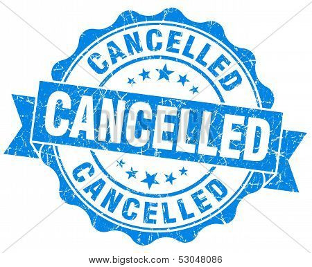 Cancelled Grunge Round Blue Seal