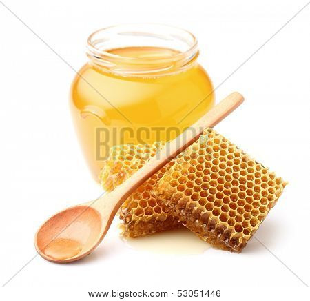 Fresh honey with honeycombs