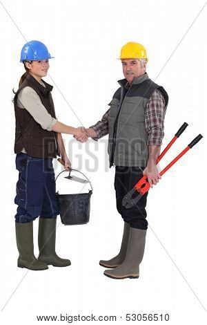 female apprentice shaking hands with mature workmate