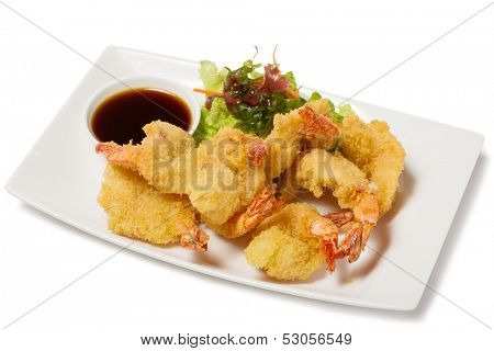 Tiger shrimp fried in Tempura with vegetables.