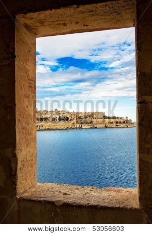 View of Valletta and Grand Harbour thorough  window