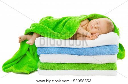 Baby Newborn Sleeping Wrapped In Bath Towels