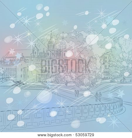 Vector Winter Christmas Cityscape With Church And River