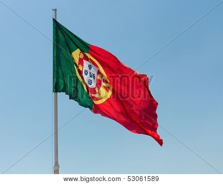 Portuguese Portugal Flag Blows In Wind