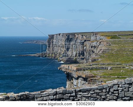 Stone Wall At Dun Aonghasa Aran Islands