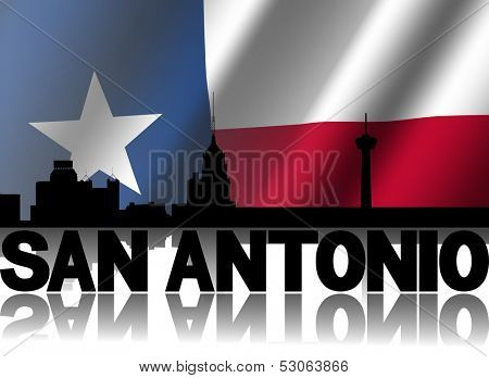 San Antonio skyline and text reflected with rippled Texan flag illustration