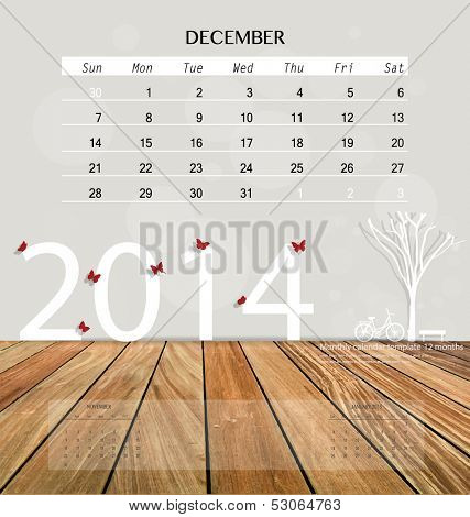 2014 calendar, monthly calendar template for December. Vector illustration.