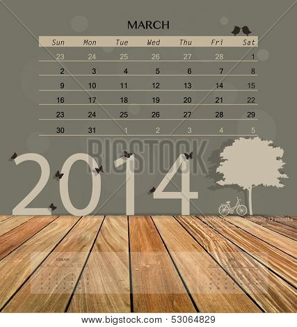 2014 calendar, monthly calendar template for March. Vector illustration.