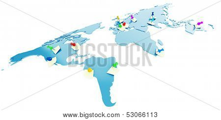 Global map with attached pins and stickers