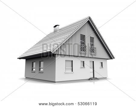 exterior of house in the light tones reflected in a white background