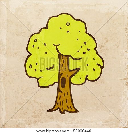 Green Tree with a Hollow. Cute Hand Drawn Vector illustration, Vintage Paper Texture Background