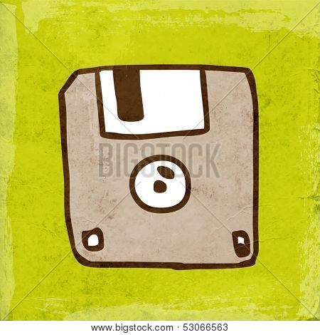 Diskette. Cute Hand Drawn Vector illustration, Vintage Paper Texture Background