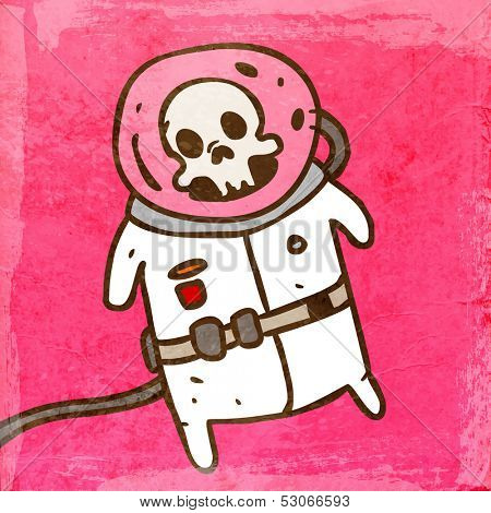 Dead Cosmonaut in a Spacesuit. Cute Hand Drawn Vector illustration, Vintage Paper Texture Background
