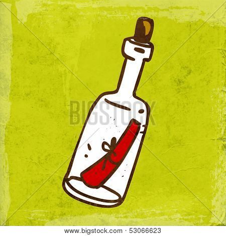 Message in a bottle. Bottle with a Note Inside. Cute Hand Drawn Vector illustration, Vintage Paper Texture Background
