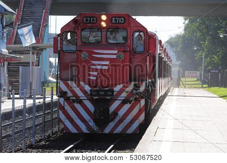 Passenger train arrives to the station.