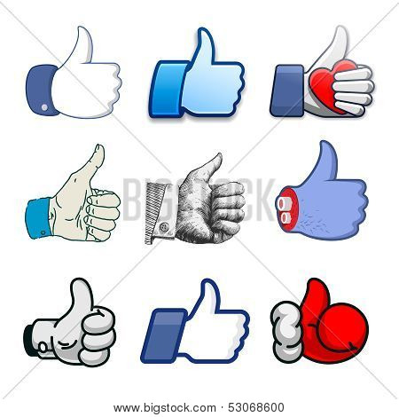 Collection of thumbs Up icons, holidays design