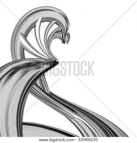 Abstract steel curved DNA isolated on white background.