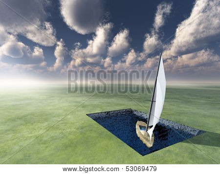 Landlocked Boat afloat in useless pool