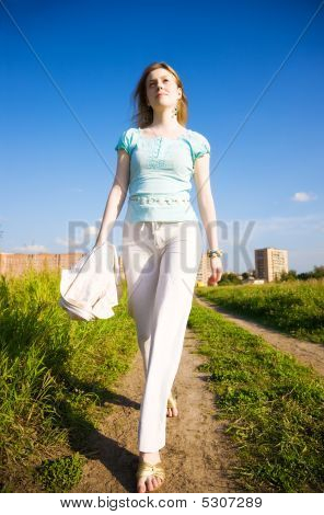 Young Independent Woman Walking