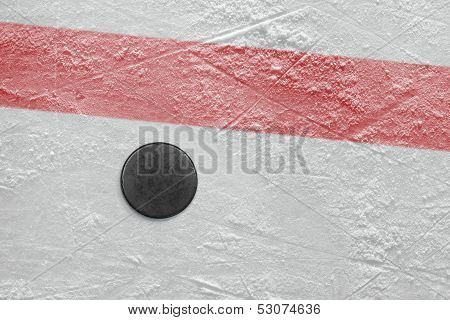 Puck On A Hockey Rink