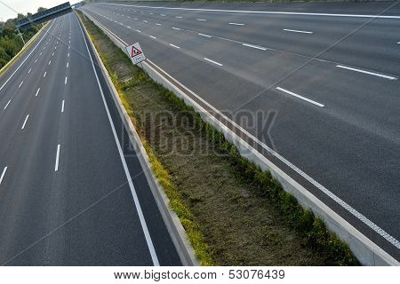 Empty 8-lane Highway