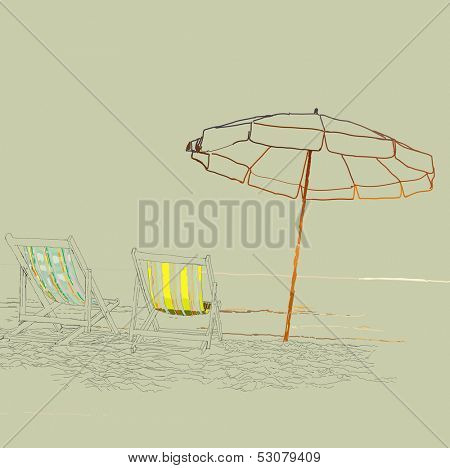 Vector sketch - pair of beach loungers on the deserted coast.