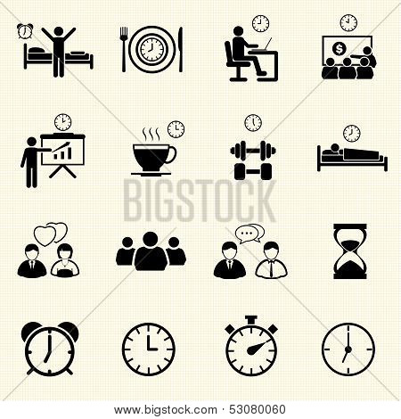 Man Daily Routine People icons set with texture background