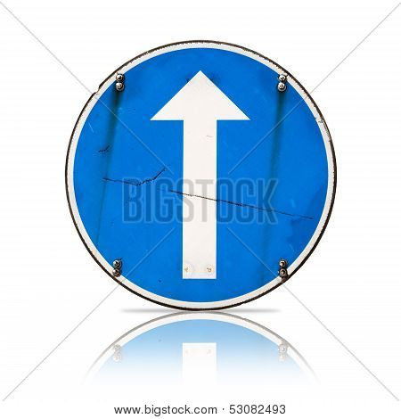 Straight Direction, Real Detailed Road Sign Isolated On White