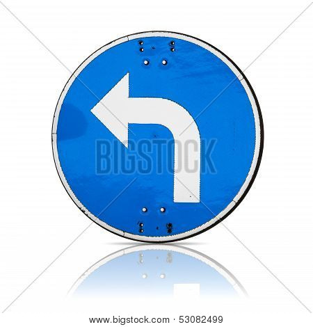 Left Turn, Real Detailed Road Sign Isolated On White