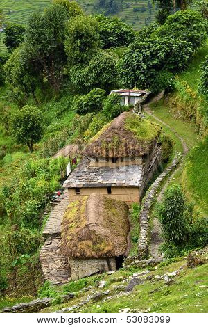 A gurung village in the Annapurna Sanctuary trail. Himalayas, Nepal