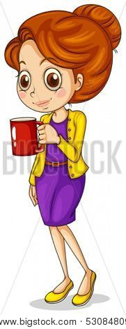Illustration of a girl holding a red mug on a white background