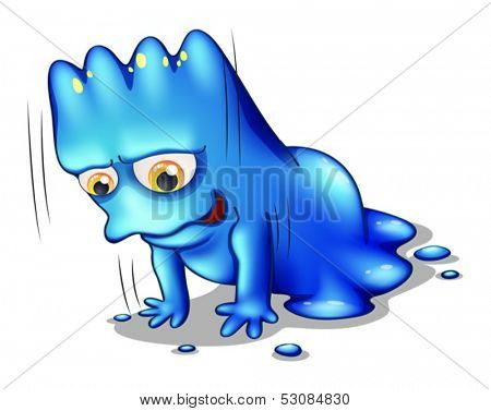 Illustration of a blue monster exercising alone on a white background