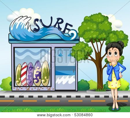 Illustration of a woman thinking in front of the surfing shop
