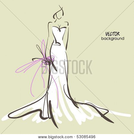 art sketch #10 of beautiful young  bride in white dress and with the bride's bouquet. Vector background with space for text.