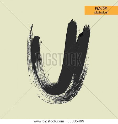 art sketched stylization alphabet in vector, black grungy font, sign U