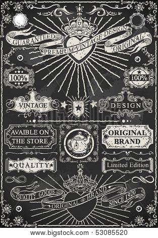 Set Of Calligraphic Design Elements On Blackboard