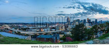 Panorama Of Cincinnati Skyline At Sunset