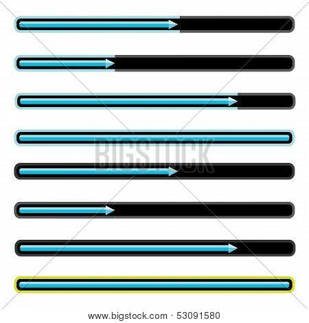 blue preloaders and progress loading bars.