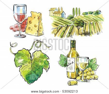 Hand drawn vector wine